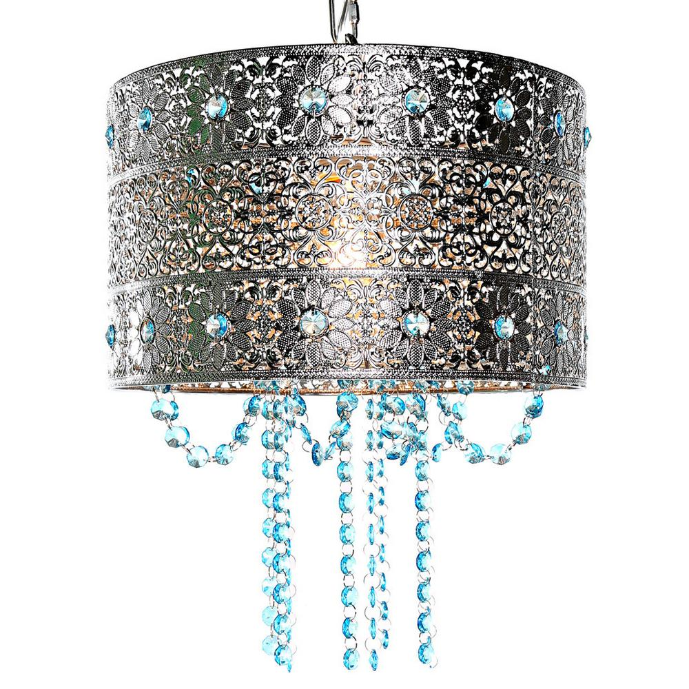 River of Goods Poetic Wanderlust by Tracy Porter 1-Light Silver and Blue Chandelier with Cascading Crystals and Metal Shade