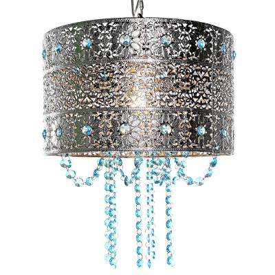 Poetic Wanderlust by Tracy Porter 1-Light Silver and Blue Chandelier with Cascading Crystals and Metal Shade