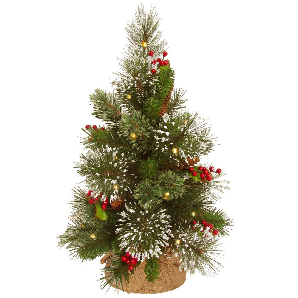 wintry pine tree with battery operated warm white led