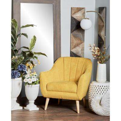 Yellow Fabric And Wood Cushioned Arm Chair