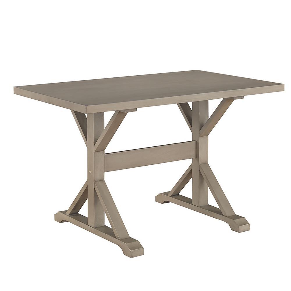 Carolina Classics Florence Weathered Gray Trestle Table T4830-WG