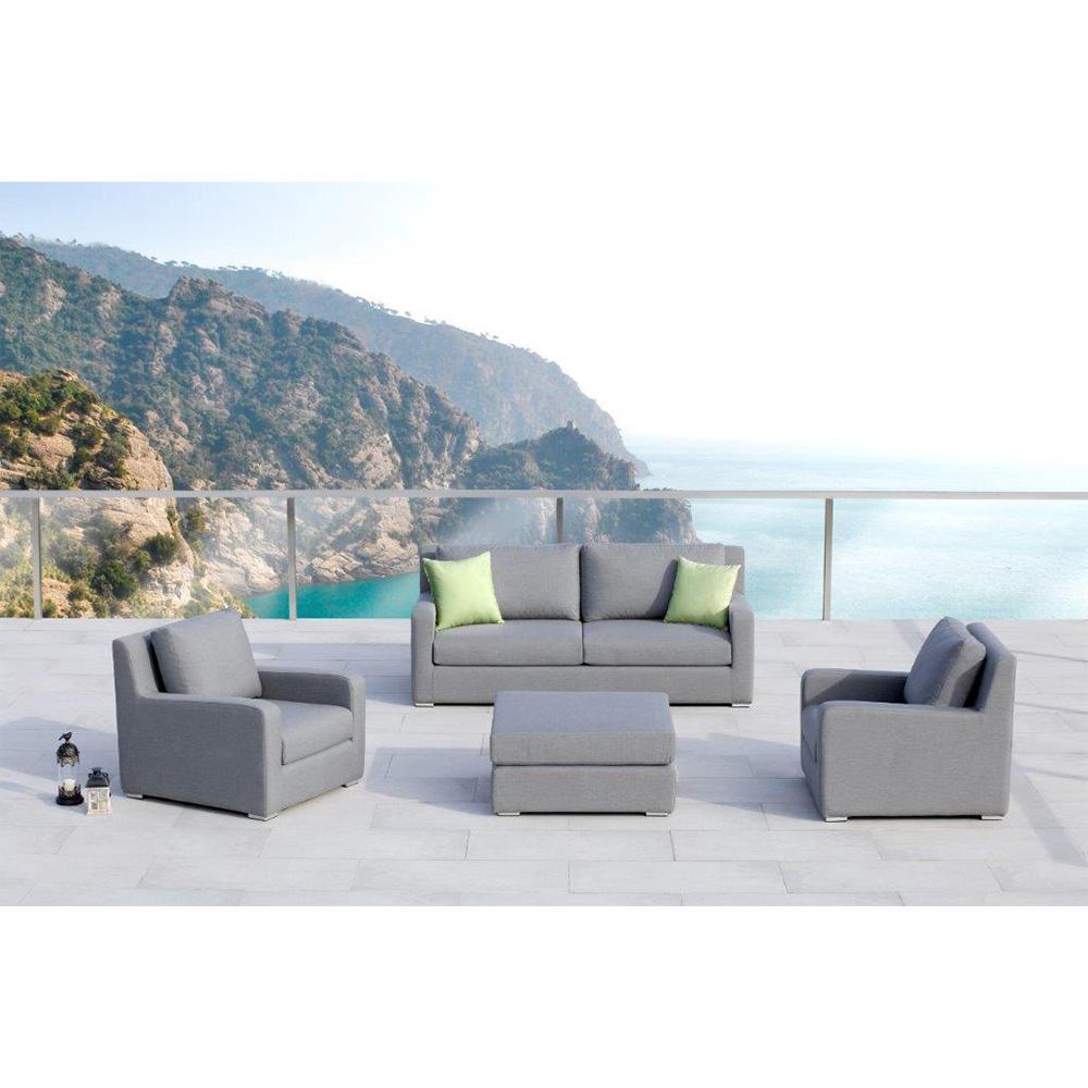 Ove Decors Aluminum Outdoor Sofa Gray Cushions