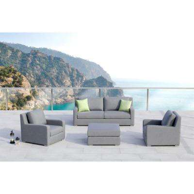 Royal 4-Piece Aluminum Outdoor Sofa with Sunbrella Gray Cushions
