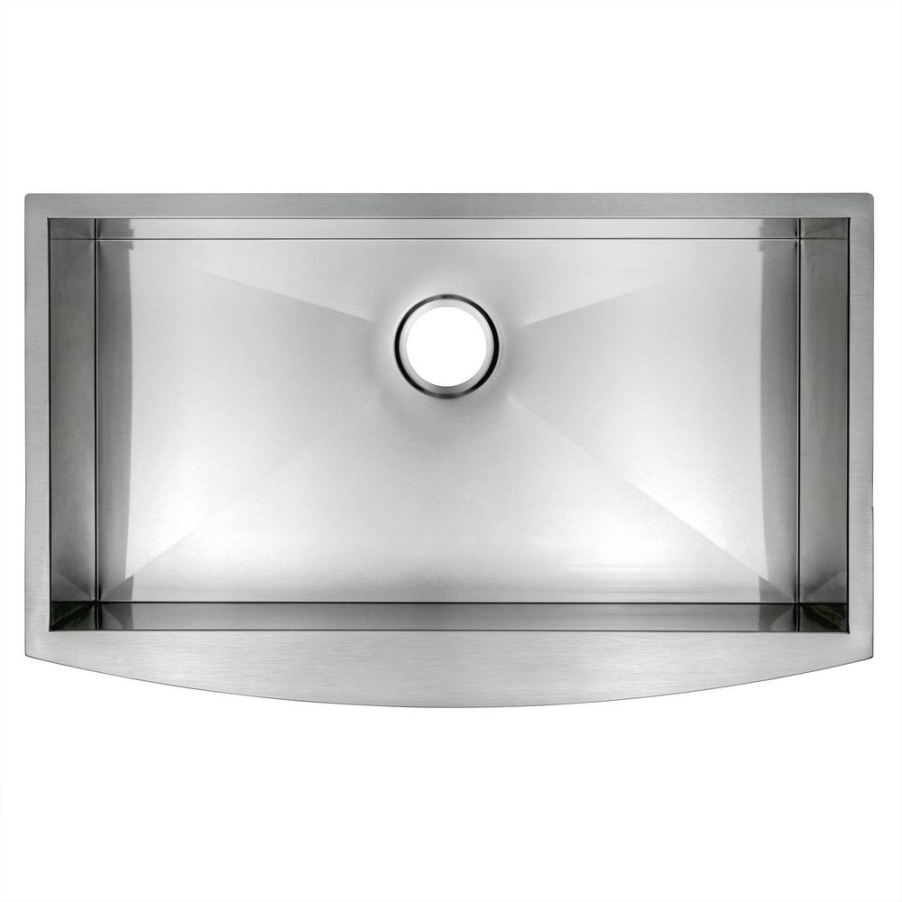 Golden Vantage Hamdmade Stainless Steel 33 in. x 20 in. Single Bowl Farmhouse Apron Mount Kitchen Sink, Brushed Stainless Steel was $399.99 now $269.99 (33.0% off)