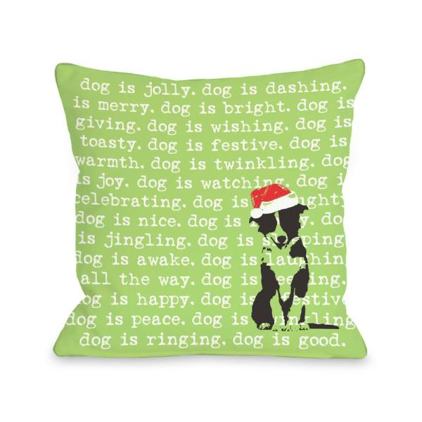 Dogisms Holiday 16 in. x 16 in. Decorative Pillow 71673PL16