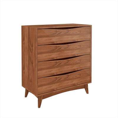 Hamilton 35.03 in. Wide 4-Drawer Dark Brown Dresser