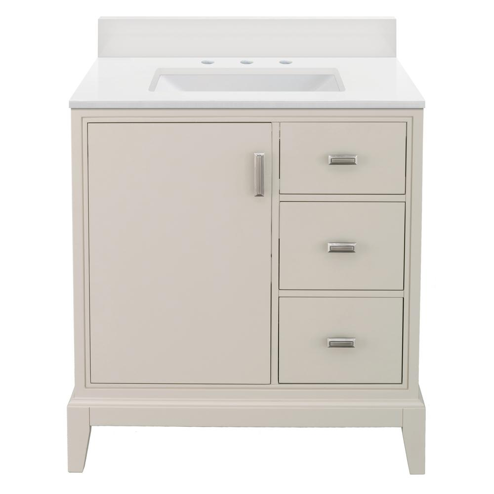 Home Decorators Collection Shaelyn 31 in. W x 22 in. D Vanity in Rainy Day RH with Engineered Marble Vanity Top in Winter White with White Sink