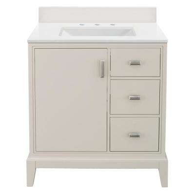 Shaelyn 31 in. W x 22 in. D Vanity in Rainy Day RH with Engineered Marble Vanity Top in Winter White with White Sink