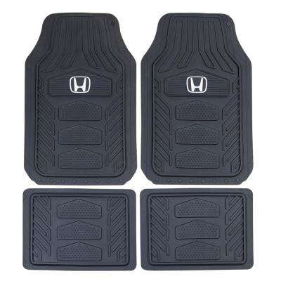 Honda Weather Pro 27 in. x 17.5 in. 4-Piece Ultra-Durable Rubber Black/White Utility Floor Mat