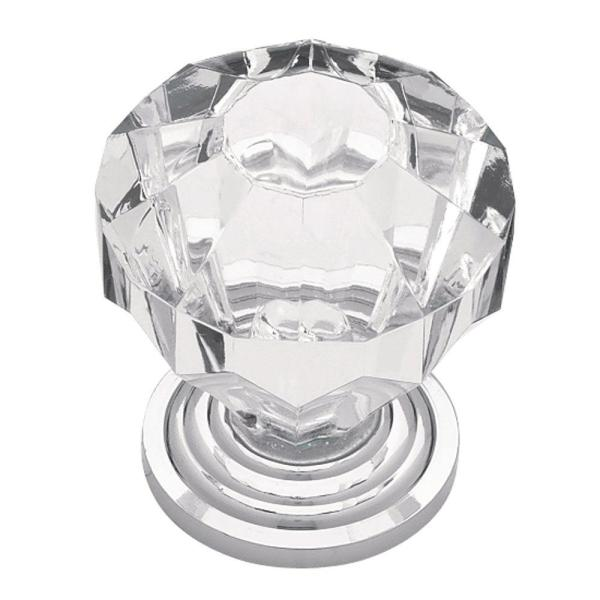 1-1/4 in. (32mm) Polished Chrome with Clear Faceted Acrylic Cabinet Knob