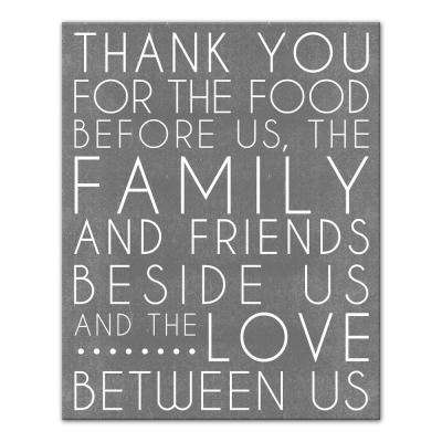 "20 in. x 16 in. ""Food Blessing Prayer Gray"" Printed Canvas Wall Art"
