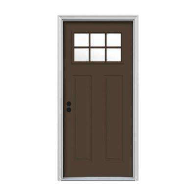 32 in. x 80 in. 6 Lite Craftsman Dark Chocolate Painted Steel Prehung Right-Hand Inswing Front Door w/Brickmould