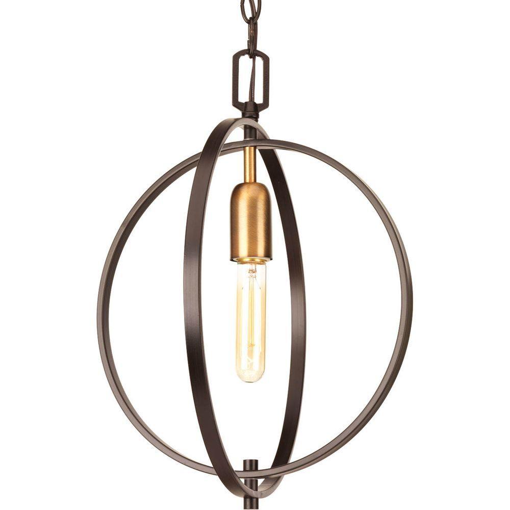 Foyer pendant lighting antique brass : Progress lighting swing collection light antique bronze