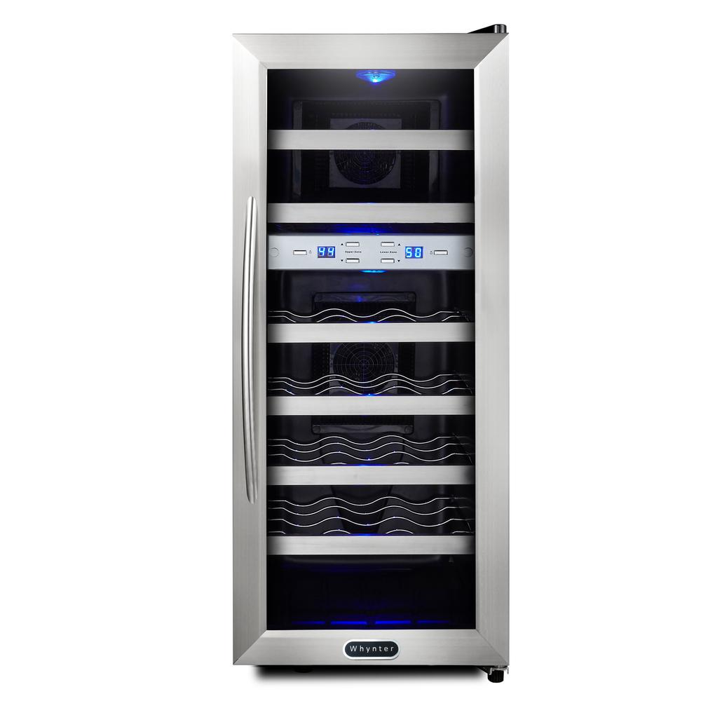 Whynter 21 Bottle Dual Zone Wine Cooler Wc 211dz The Home Depot