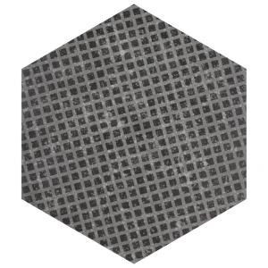 Coralstone Hexagon Melange Black 10 in. x 11-1/2 in. Porcelain Floor and Wall Tile (11.21 sq. ft. / case)