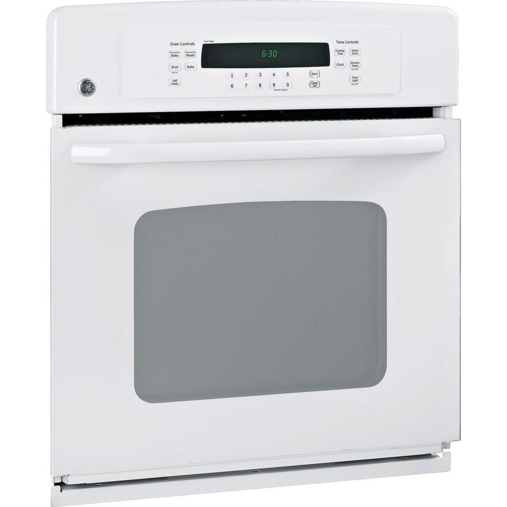 GE 27 in. Single Electric Wall Oven Self-Cleaning with Convection in White GE appliances provide up-to-date technology and exceptional quality to simplify the way you live. With a timeless appearance, this family of appliances is ideal for your family. And, coming from one of the most trusted names in America, you know that this entire selection of appliances is as advanced as it is practical. Color: White.
