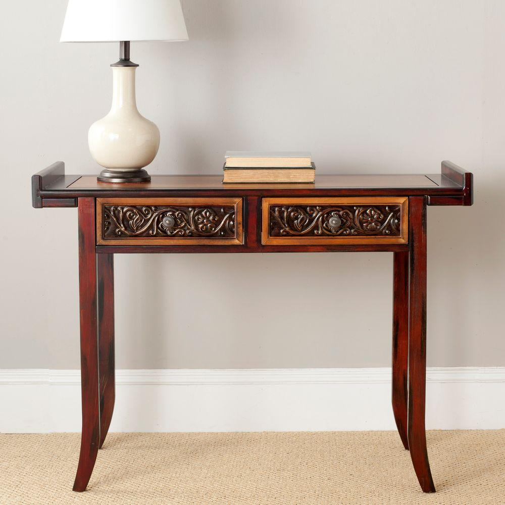 Safavieh Caitlin Light and Dark Brown Storage Console Table
