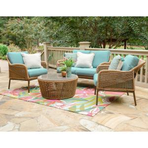 Terrell 4-Piece Wicker Seating Set with Spa Blue Cushions