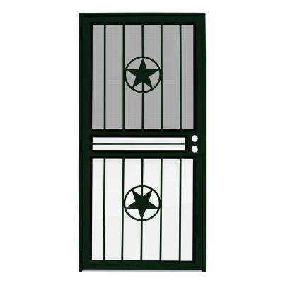 36 in. x 80 in. Lone Star Forest Green Recessed Mount All Season Security Door with Insect Screen and Glass Inserts
