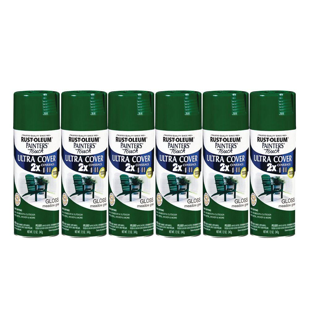 Painter's Touch 12 oz. Gloss Meadow Green Spray Paint (6-Pack)-DISCONTINUED