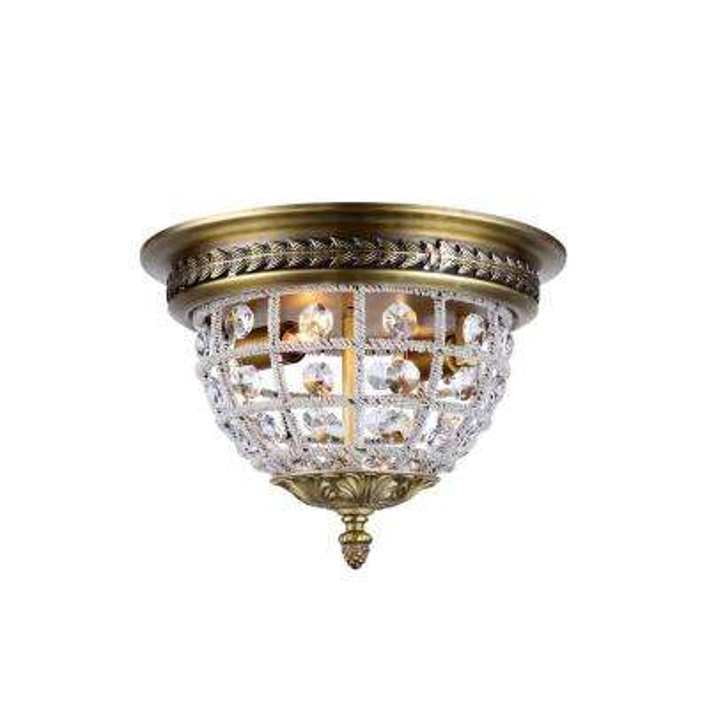 Olivia 2-Light French Gold Royal Cut Crystal Flush Mount