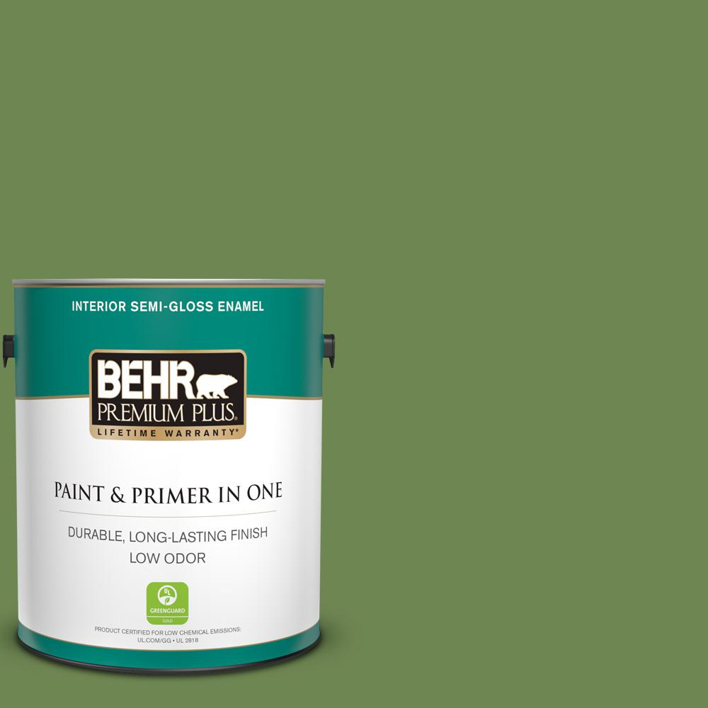 Behr Premium Plus 1 Gal M370 6 Snip Of Parsley Semi Gloss Enamel Low Odor Interior Paint And Primer In One 330001 The Home Depot