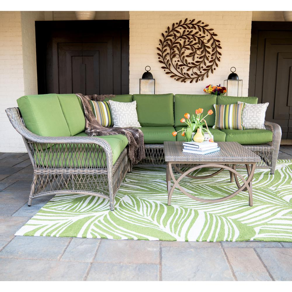 Merveilleux Leisure Made Birmingham 5 Piece Wicker Outdoor Sectional Set With Green  Cushions