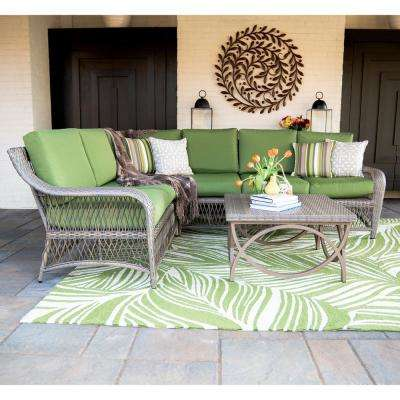 Birmingham 5 Piece Wicker Outdoor Sectional Set With Green Cushions