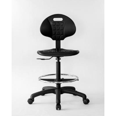 Black Polyurethane Tall Drafting Chair - 10 in of seat height adjustment, 20 in adjustable foot ring
