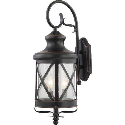 Small 3-Light Black Copper Aluminum Indoor/Outdoor Lamp/Lantern Candle-Style, Wall Mount Sconce with Clear Seedy Glass