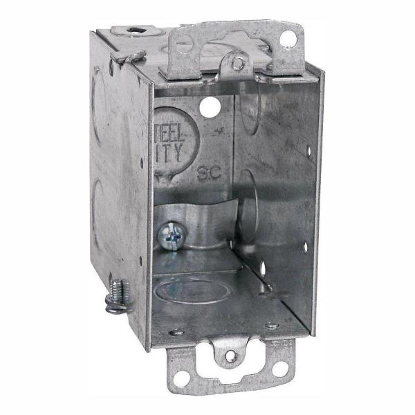 1-Gang 3 in. Metal Electrical Box with 1/2 in. Knockouts and Non-Metallic Cable Clamps (Case of 25)