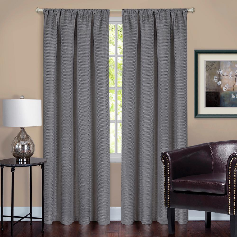 Harmony Grey Polyester Rod Pocket Blackout Panel - 52 in. W