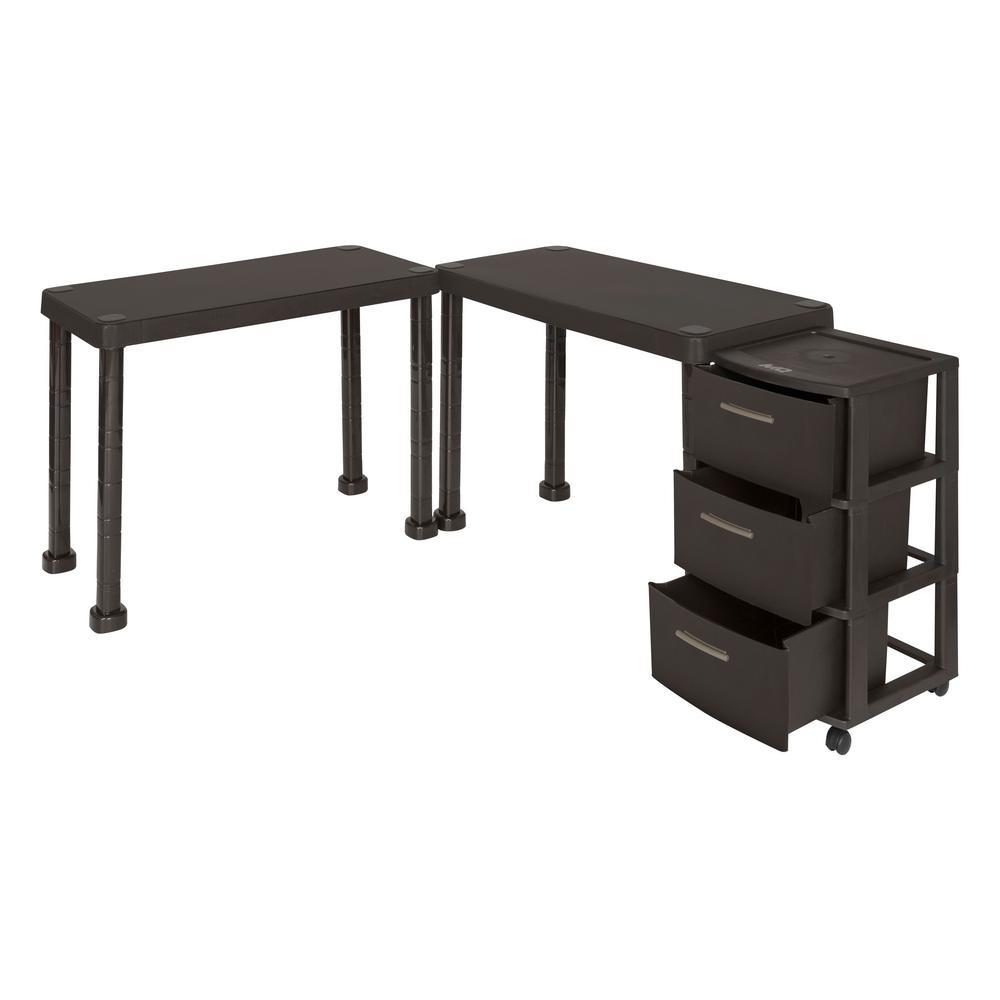 Multi-Desk Set with Rolling Storage Cart in Espresso Color