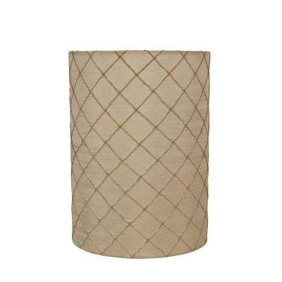 8 in. x 11 in. Beige and Plaid Design Drum/Cylinder Lamp Shade