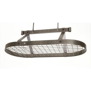 Enclume Premier 3 ft. Oval Ceiling Pot Rack in Hammered Steel by Enclume