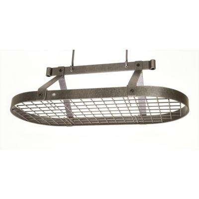 Handcrafted 36 in. Oval Ceiling Pot Rack with 18 Hooks Hammered Steel