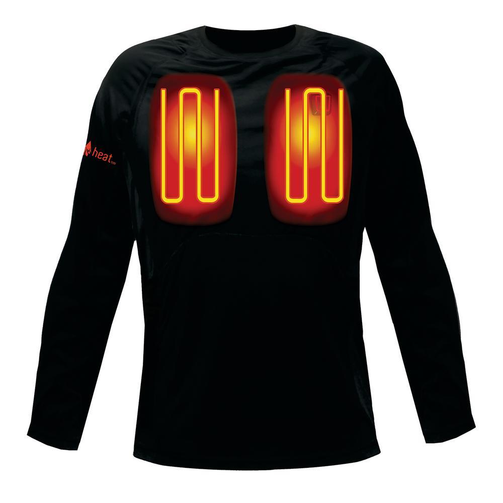 Men's Large Black Long Sleeved Heated Base Layer Shirt