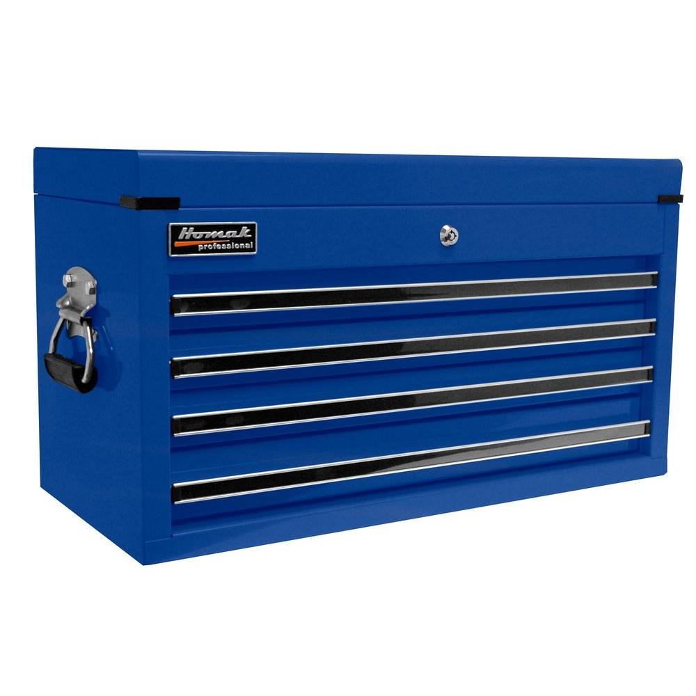 Homak Professional 27 in. 4-Drawer Top Chest, Blue