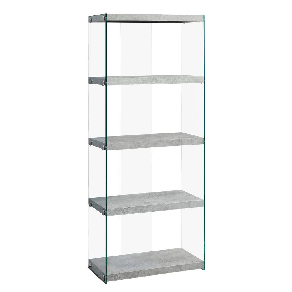 Grey Cement with Tempered Glass Etagere