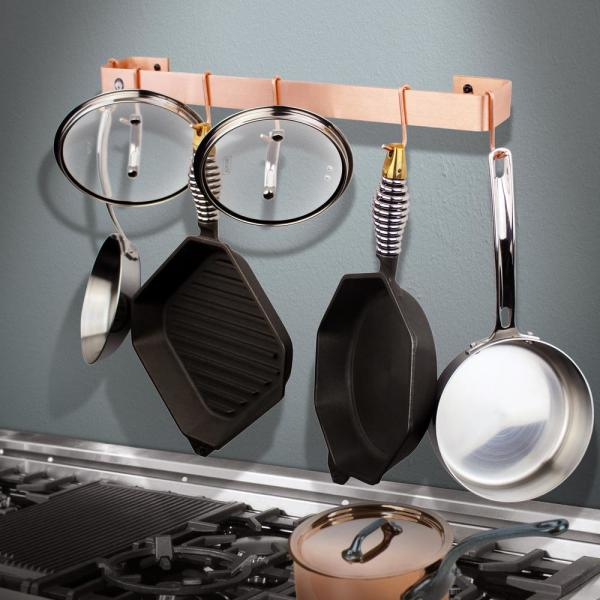 Enclume Handcrafted 30 in. Copper Wall Rack Utensil Bar with 6-Hooks