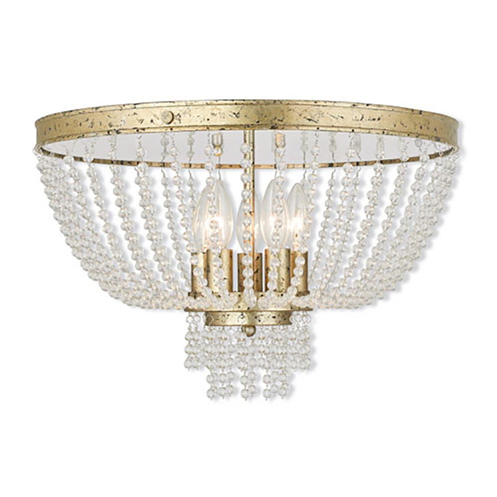 Valentina 5-Light Winter Gold Flushmount