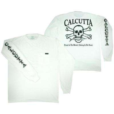 Adult Triple Extra Large Original Logo Long Sleeved Front Pocket T-Shirt in White
