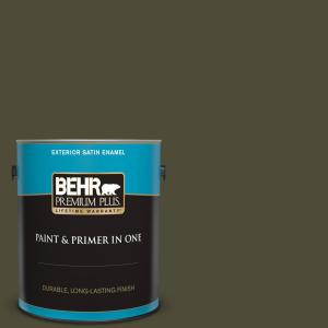 Behr Premium Plus 1 Gal S H 760 Olive Leaf Satin Enamel Exterior Paint And Primer In One 934001 The Home Depot