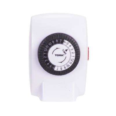 15 Amp 24 Hour Powerful Compact Mechanical Plug-In Timer with 1-Polarized Outlet