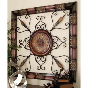 45 inch x 45 inch Old World Metal Wall Decor with Floral Medallion by
