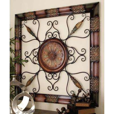 45 in. x 45 in. Old World Metal Wall Decor with Floral Medallion