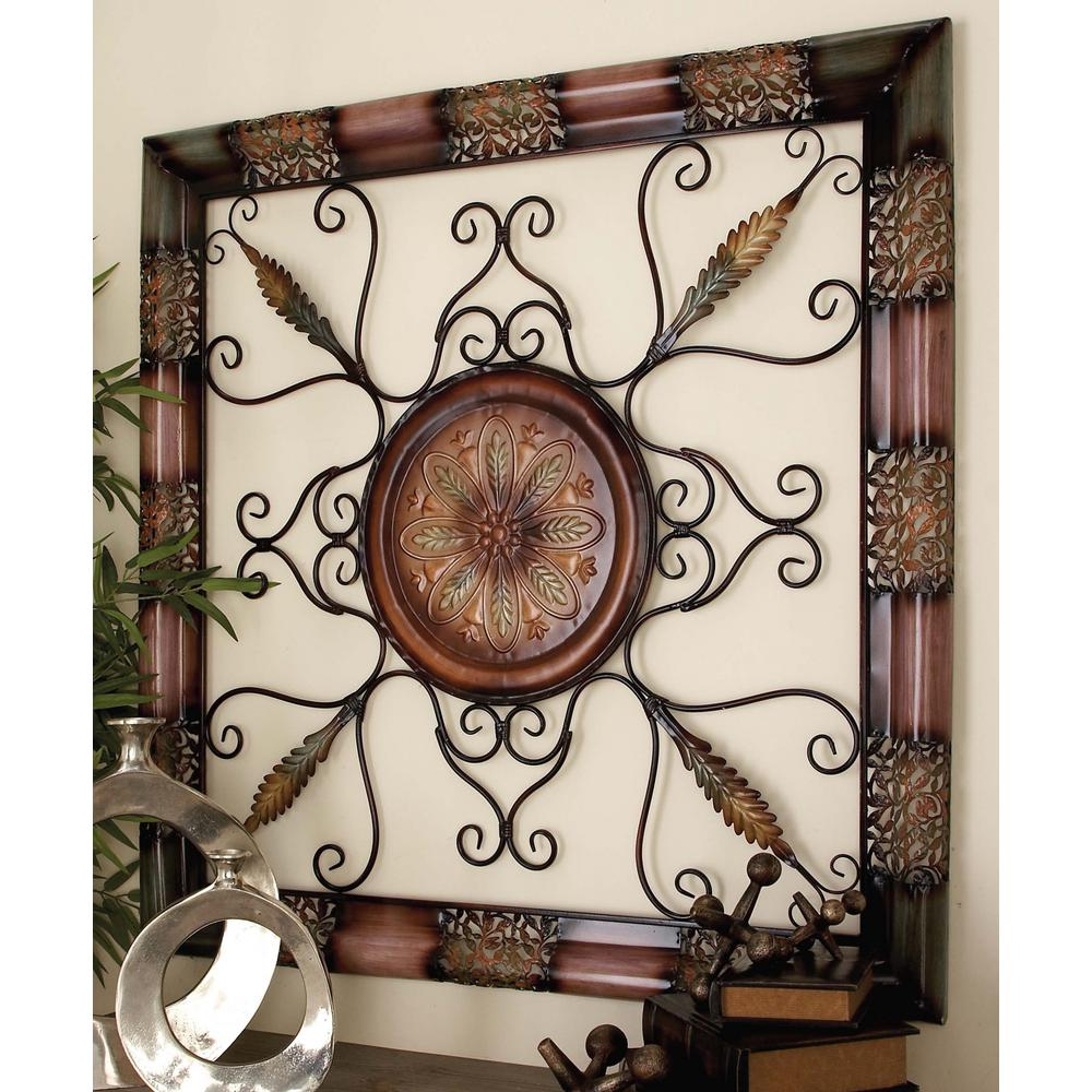 Famous 45 in. x 45 in. Old World Metal Wall Decor with Floral Medallion  SH33