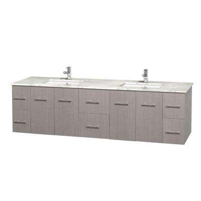 Centra 80 in. Double Vanity in Gray Oak with Marble Vanity Top in Carrara White and Under-Mount Sinks