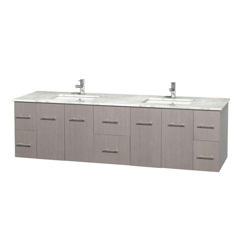 Wyndham Collection Centra 80 in. Double Vanity in Gray Oak with Marble Vanity Top in Carrara White and Under-Mount Sinks