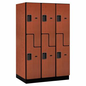 27000 Series Double Tier ''S'' Style 24 in. D 6 Compartments Extra Wide Designer Wood Locker in Cherry